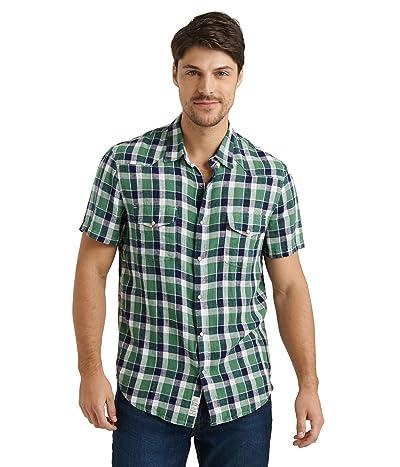 Lucky Brand Short Sleeve Santa Fe Western Shirt (Green Plaid) Men
