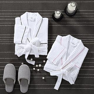 ZLR ホテル純粋なコットンのバスローブアダルトカップル純粋なコットンのバスローブ薄いセクションバスローブ ( 色 : Black+pink(2pcs)-S )