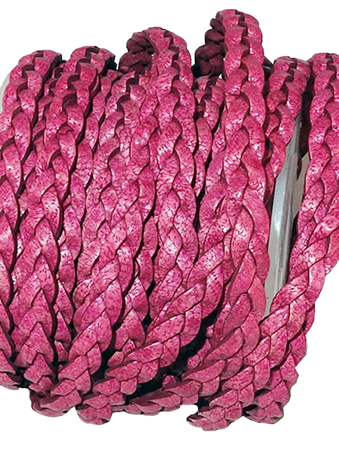 cords craft 5mm 3 Ply Flat Braided Genuine Leather Cord, Fuschia Color, Hand Braided, Roll of 5 Meters