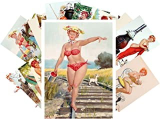 Pinup Postcard Pack 24pcs Hilda Chubby Sexy Redhead Pinup Girl Vintage Illustration