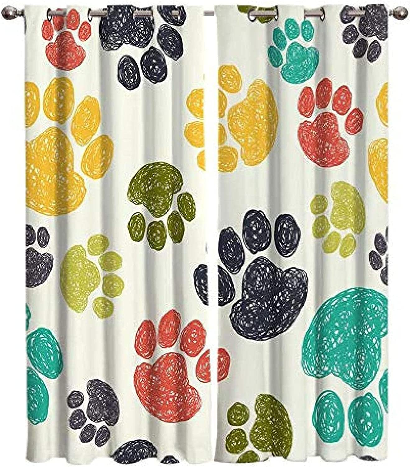 XKSJWY Quantity limited Kitchen Philadelphia Mall Curtains Simple Colorful 79X84 Inch Paw Artistic