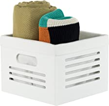 Wooden Crate Box Stackable Storage Bin Cube Container - Decorative Wood Cube Storage Closet and Shelf Basket Organizer Lin...