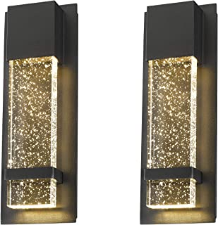 Emliviar Modern Wall Sconces 2 Pack, LED Outdoor Indoor Wall Fixture in Black Finish with Bubble Glass, 0395-WD-2PK