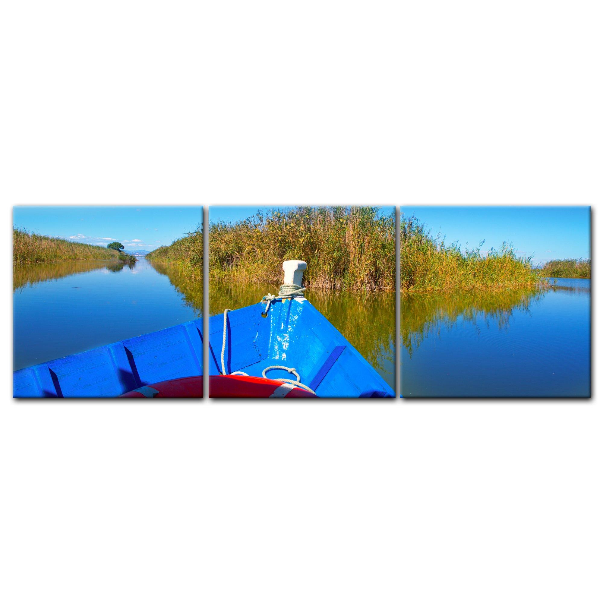 Bilderdepot24 Cuadros en Lienzo Panorama Barco Azul en la Albufera - Valencia España 180x60 cm 3 Piezas - Enmarcado Listo Bastidor Imagen. Directamente Desde el Fabricante: Amazon.es: Hogar