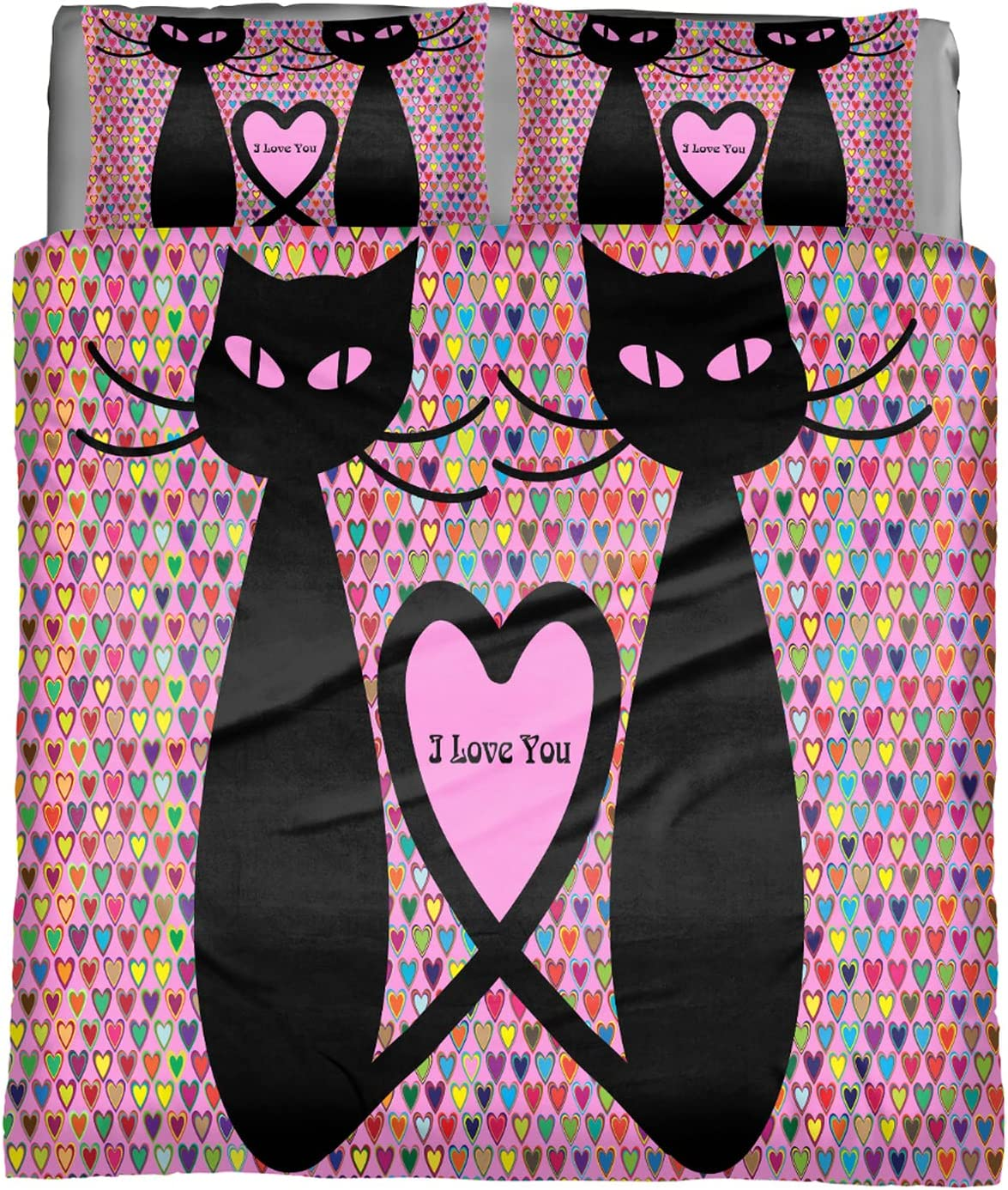 Valentine Cats Love Hearts sale Comforter 5% OFF Set Ultra Soft Size King Be