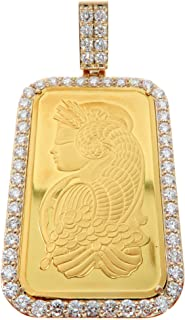 Traxnyc 14K Gold Frame 24K 24KARAT 999.9 Fine Gold PAMP Suisse BAR Genuine Diamonds Charm Luxurious Pendant