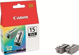 Canon BCI-15BK 8190A003 i70 i80 Color Pixma iP90 Pixus 50i 80i iP90 Ink Tack (Black, 2-Pack) in Retail Packaging