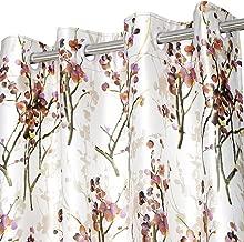 Ultica Fab Heavy Long Crush Polyester Floral Print Eyelet Curtains Set of 2 (Door - 7 feet, Orange)