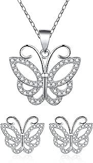 Sterling Silver Cubic Zirconia Butterfly Necklace & Stud Earrings Set