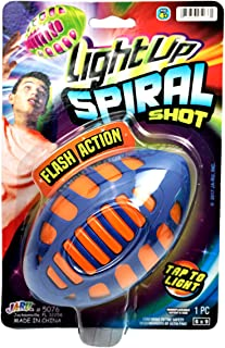 JA-RU Flying Football Light Up Ball with Flashing Lights (Pack of 1) Lights Up Glow in The Dark Ball Spiral Shot | Item #5076-1p