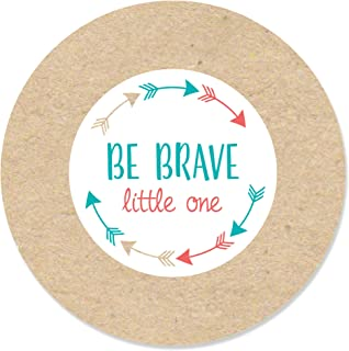 Be Brave Little One - Boho Tribal Baby Shower or Birthday Party Circle Sticker Labels - 24 Count