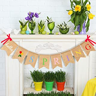JOZON Hello Spring Burlap Banner Jute Spring Bunting Banner Garland Flower Spring Decorations for Holiday Party Mantel Fireplace Wall (No DIY Required)