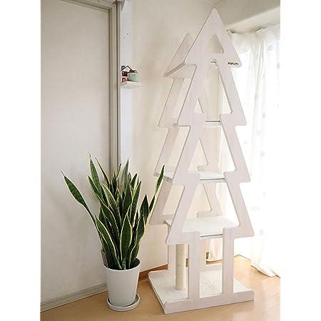 おしゃれ デザイン キャットタワー 日本製 省スペース 高級 キャッツファー PMG4W ホワイト