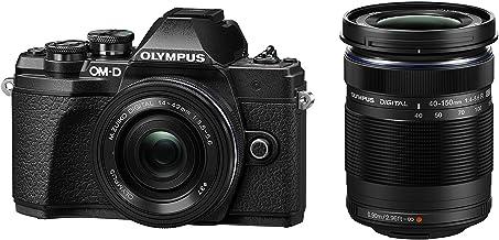 Olympus OM-D E-M10 Mark III Kit, Micro Four Thirds Systemkamera (16 Megapixel, Bildstabilisator, elektronischer Sucher, 4K-Video) + M.Zuiko 14-42mm EZ Zoomobjektiv + M.Zuiko 40-150mm Telezoom, schwarz