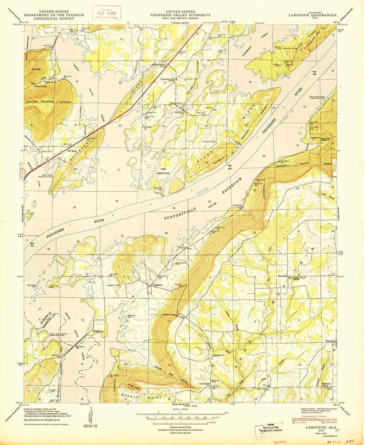 Langston AL topo map, 1 24000 Scale, 7.5 X 7.5 Minute, Historical, 1950, 26.7 x 22 in