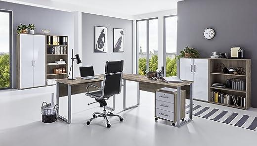Büro Möbel Arbeitszimmer komplett Set Office Edition (Set 1) in Eiche Sonoma/Weiß – abschließbar und Metallgriffe – Made in Germany