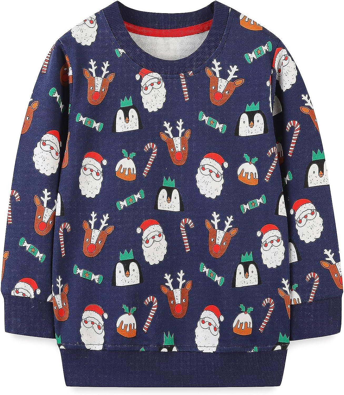 Baby Toddler Boy's Cotton Max 83% OFF Crewneck Christmas Clothing Sweatshirt Product