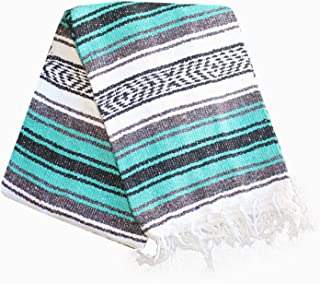 Del Mex Classic Mexican Blanket Vintage Style (Teal)