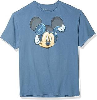تي شيرت أنيق للبالغين مطبوع عليه Disney Mickey Mouse Peeking