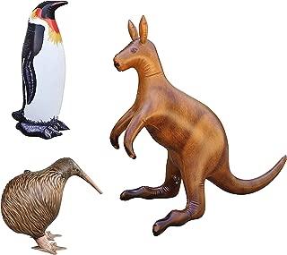 Jet Creations Inflatable Kangaroo Kiwi Bird Penguin 3 Pack Safari Decoration,Birthday Kids and Adult an-KKPEN