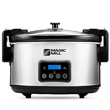 Magic Mill 8.5 Quart Slow Cooker Crock Pot, Digital Programmable, 20 Hour Timer, 3 Cooking Settings, Locking Lid for Easy Transport, Dishwasher Safe