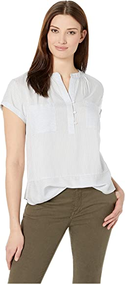 9fccc3ba40985 Two by vince camuto long sleeve roll tab mix stripe two pocket shirt ...