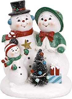 Valery Madelyn 8.3 Inch Polyresin Christmas Snowman Figurines Decoration with LED Lights, Themed with Classic Collection Splendor Christmas Ornaments