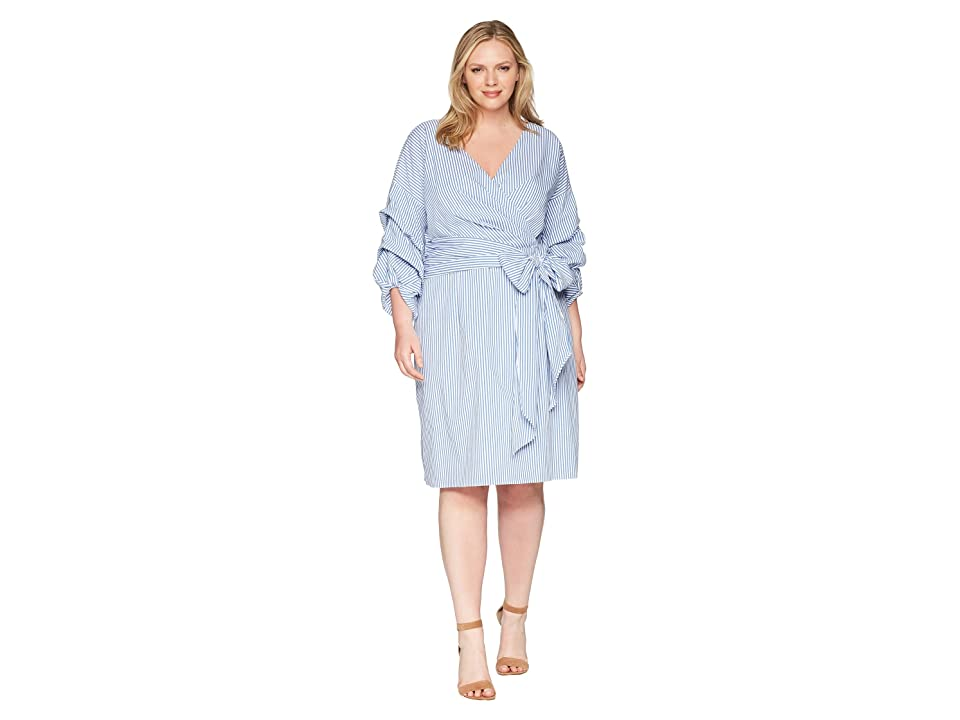 Adrianna Papell Plus Size Short Wrap Dress Long Sleeves (Light Blue/Ivory) Women