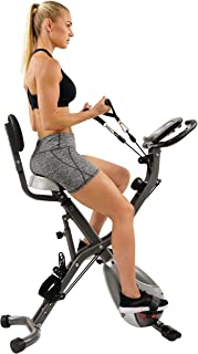 Sunny Health & Fitness Foldable Semi Recumbent Magnetic Upright Exercise Bike w/Pulse Rate Monitoring, Adjustable Arm Resistance Bands and LCD Monitor - SF-B2710 (Renewed)