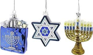 Kurt Adler 3-Piece Noble Gems Glass Hanukkah Ornaments (3 Piece Set)
