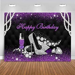 Mocsicka Glitzer Hintergrund mit violetten Absätzen, Champagnerglas Hintergrund für Frauen, 20., 30., 40. Geburtstag, Party Dekoration, Foto Requisiten (2,1 x 1,5 m)