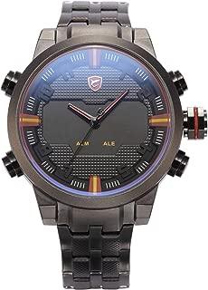HELMASK watch - Stainless Steel 304 Black Round man mens men boy Analog & Digital analog Date Day 24hour 2 time zone dual time zone Wrist Watch