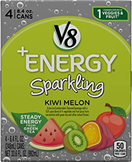 V8 +Energy Sparkling Healthy Energy Drink, Natural Energy from Tea, Kiwi Melon, 8.4 Fl Oz Can (6 Packs of 4, Total of 24)