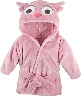 Hudson Baby Unisex Baby Plush Animal Face Robe, Pink Owl, One Size, 0-9 Months