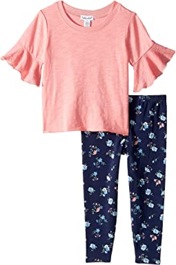 Gauze Flounce Sleeve Top Set (Toddler/Little Kids)