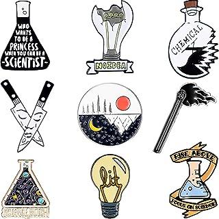 WILLBOND Set di Spilla Smaltata Cartone Animato da 9 Pezzi Spille per Badge Chimiche Set di Pin Scientifici Spilla Rotonda...
