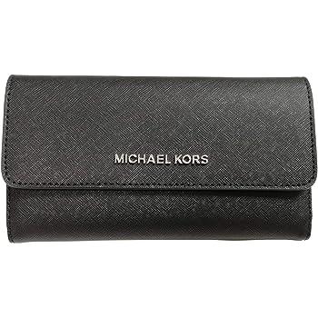 Michael Kors Jet Set Travel Trifold Leather Wallet Black, Large