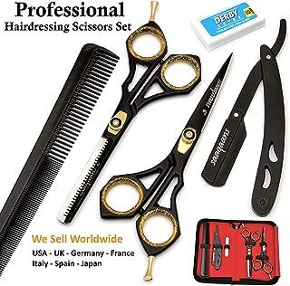 Saaqaans Professional Hair Cutting Scissors Set - Haircut Scissor for Barber/Hairdresser/Hair Salon + Thinning/Texture Hairdressing Shear for Beautician + Straight Edge Razor + 10 Blades with Case