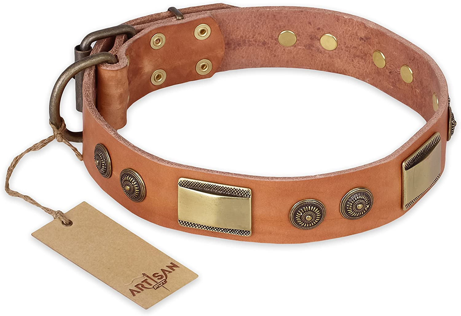 29 inch Fancy Tan Leather Dog Collar   Vintage Trimness  Brass Decor by Artisan  Exclusive Handcrafted Item  1 1 2 inch (40 cm) wide  Gift Box Included