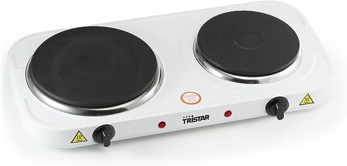 Tristar KP-6245 Placa de cocción, 2500 W, Acero Inoxidable, Blanco
