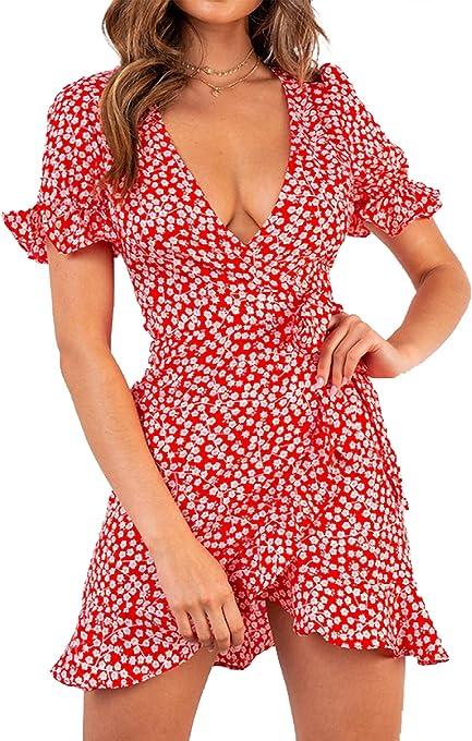 Relipop Women's Dresses Floral Print Deep V-Neck Short Bell Sleeve Ruffle Wrap Tie Knot Fishtail Short Dress