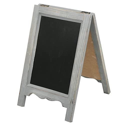 f26681bae99 MyGift 15-inch Mini Tabletop Gray Wood A-Frame Double-Sided Chalkboard Sign
