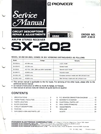 pioneer sx-202 sx-202l am fm stereo receiver, service manual, parts
