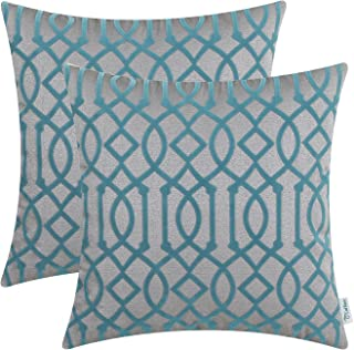 CaliTime Pack of 2 Throw Pillow Covers Cases for Couch Sofa Home Decoration 18 X 18 inches Flocking Designs 18 X 18 Inches...