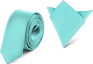 Ladeheid Set Cravatta Slim e Fazzoletto Taschino Uomo SP/P (150cm x 5cm, 22cm x 22cm)