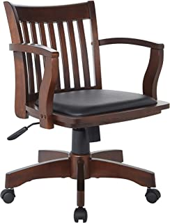 Office Star Deluxe Wood Bankers Desk Chair with Black Vinyl Padded Seat, Espresso (Renewed)