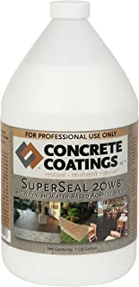 CC Concrete Coatings SuperSeal 20WB - Water Base Acrylic Sealer, Quick Drying, Safe & Easy to Use - Satin Finish (1 Gal)