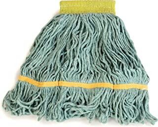 Carlisle 369472B09 Looped-End Premium Mop Head with Yellow Band, Small, Green