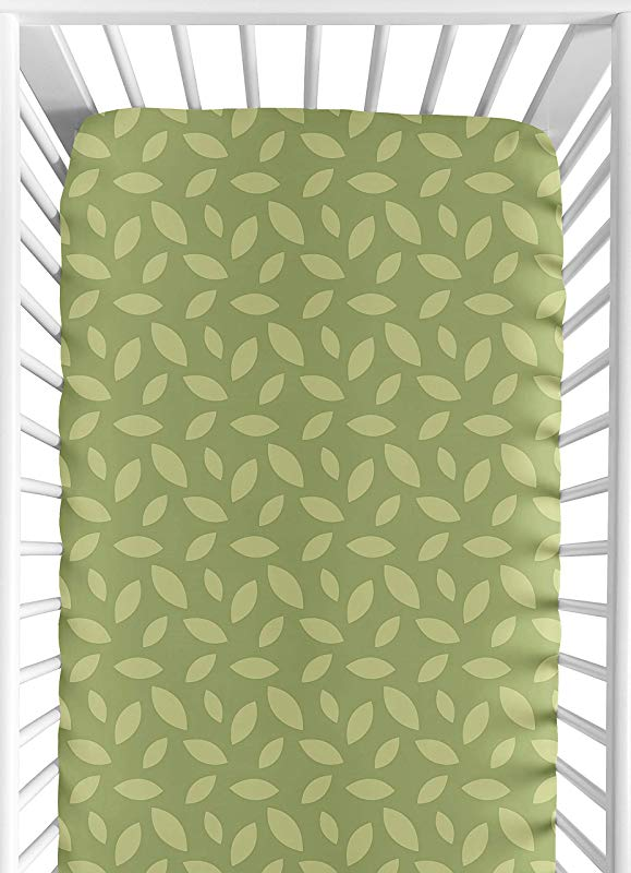 Jungle Time Fitted Crib Sheet For Baby And Toddler Bedding Sets By Sweet JoJo Designs Green Leaf Print