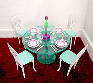 My Fancy Life Dollhouse Furniture- Meal Time Green Dinning Table Play Set